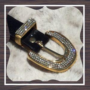 NWOT LEATHEROCK Swarovski crystals genuine leather